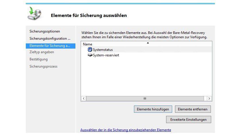Selektion: In der Windows-Server-Sicherung wählen Sie die zu sichernden Elemente aus.