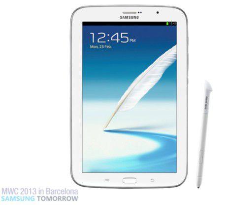 Das neue Galaxy Note 8.0 von vorne...