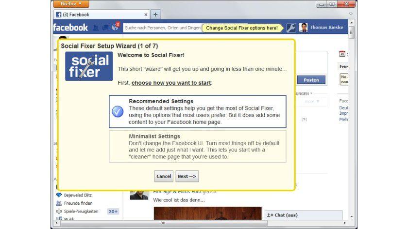 """Erstkonfiguration: Der Assistent der Erweiterung """"Social Fixer"""" unterstützt den Anwender bei den ersten Schritten. Spätere Anpassungen lassen sich über das auf der Facebook-Seite eingeblendete Werkzeugsymbol durchführen."""