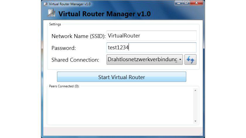 Virtual Router Manager: Das Tool verbindet WLAN-fähige Geräte über einen Windows-PC mit dem Internet.