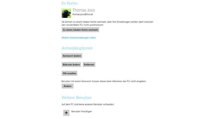 Wahlweise: In Windows 8 können Sie sich mit E-Mail-Konten und lokalen Konten anmelden