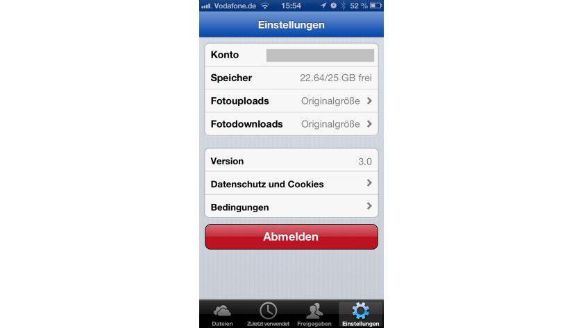 SkyDrive 3.0 für iOS: In der neuen Version lässt sich unter anderem die Bildergröße einstellen.