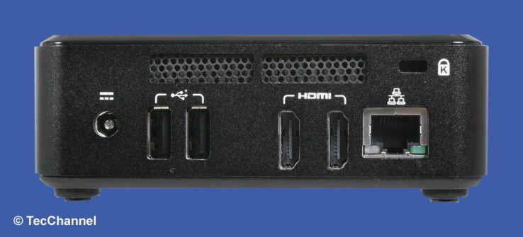 Spartanisch: Auf der Rückseite stehen dem Anwender zwei USB- und zwei HDMI-Schnittstellen sowie ein Gigabit-Ethernet-Port zur Verfügung. Für den Diebstahlschutz sorgt eine Kensington-Lock-Vorrichtung.