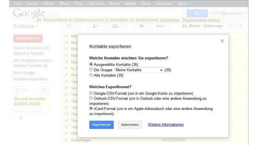 """Datenumzug: Um Ihre Kontakte problemlos in Owncloud einlesen zu können, wählen Sie nicht das von Google vorgeschlagene Exportformat, sondern """"vCard"""" aus."""