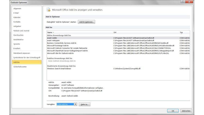 Management: Erweiterungen für Microsoft Outlook lassen sich über die Optionen verwalten und zu Testzwecken vorübergehend deaktivieren.