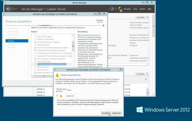 Der IP-Adressenverwaltungsserver ist ein Feature von Windows Server 2012, das im Server-Manager hinzugefügt werden kann. Allerdings sollte das betreffende System Mitglied einer AD-Domäne sein.