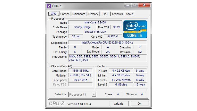 CPU-Z: Das Prüfprogramm liefert detaillierte Infos über die Hardware-Komponenten im Rechner.