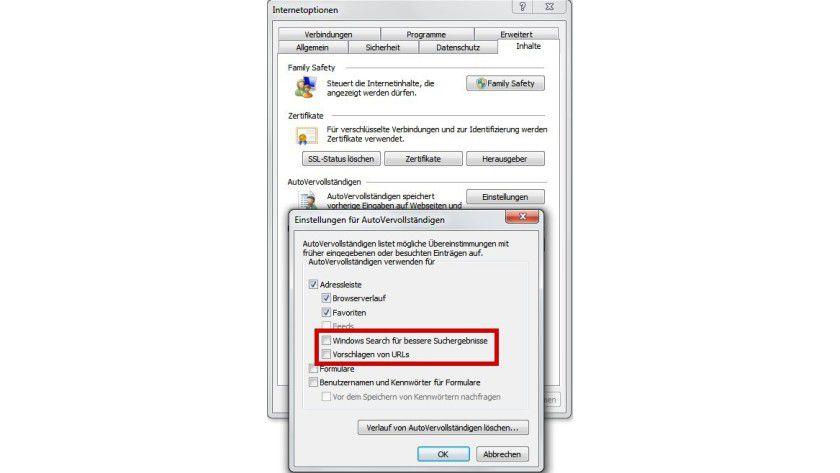 Funktionstrennung: Damit der Internet Explorer nicht doch unerwünscht Vorschläge der Windows-Suche unterbreitet, müssen Sie die Einstellungen für das automatische Vervollständigen anpassen.