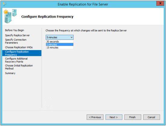 Frequenzwahl: Bei Windows Server 2012 R2 Hyper-V lässt sich das Replikationsintervall anpassen.