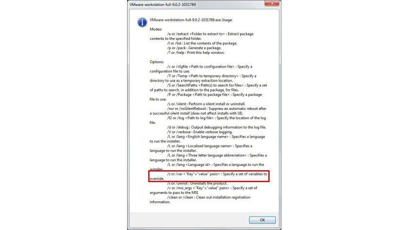Setup-Optionen: Um eine Neuinstallation zu forcieren, bietet VMware den Parameter /z an.