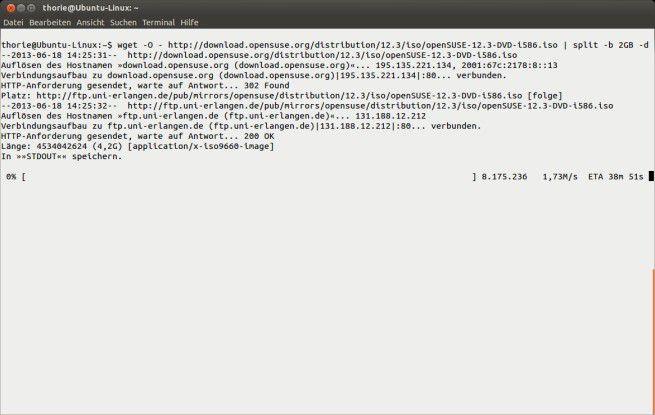 Datei-Splitting: Mit Wget und geschickter Kombination von Linux-Systembefehlen gelingt es, das 4,2 GByte große Suse-DVD-Image in Häppchen à 2 GByte zu speichern.