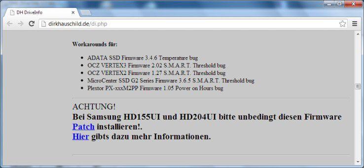 Einschränkung: Nicht alle Festplatten und SSDs werden von DriveInfo unterstützt.