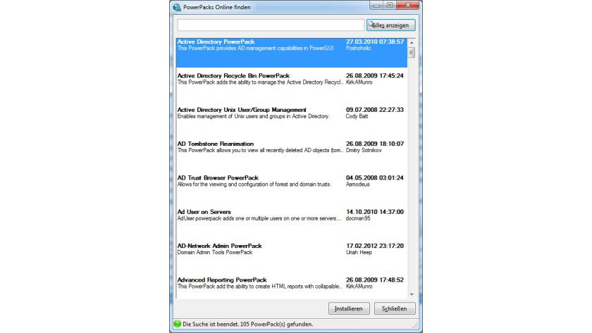 Aufgewertet: Mit PowerPacks kann die PowerGUI auch erweitere Funktionen der Betriebssysteme unterstützen.