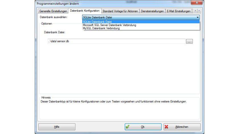Essenzielle Komponente: ServerSentinel benötigt zwingend eine Datenbank. Im Tool integriert ist SQLite.