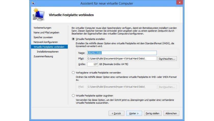 VHD-Speicherort: Den Pfad für virtuelle Festplatten sollten Sie auf jeden Fall in die Ausnahmeliste für den Virenscanner aufnehmen.