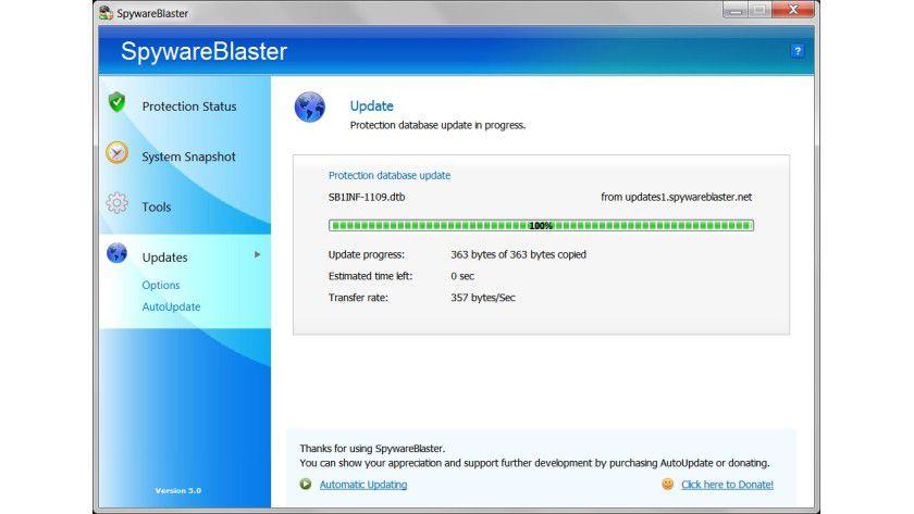 Manuell statt automatisch: Die Datenbanken lassen sich in der Gratis-Version von SpywareBlaster nur per Hand aktualisieren.