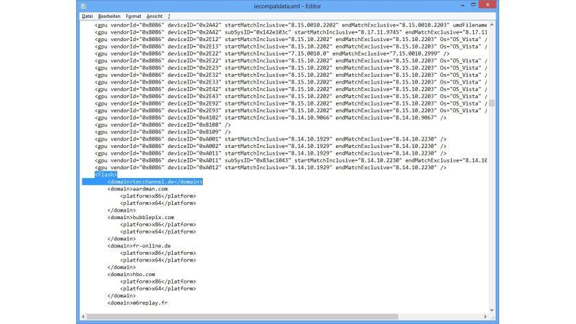 Aufgebohrt: Sie k&ouml;nnen Microsofts Whitelist nach dem Tag <Flash> eigene Websites hinzuf&uuml;gen, um auch f&uuml;r sie Flash-Inhalte mit der Internet-Explorer-App wiederzugeben.