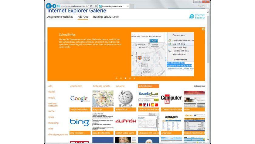 Zusatzfunktionen: Über die Internet-Explorer-Galerie lassen sich eine Reihe von Schnellinfos nachrüsten, etwa die Google-Suche oder Wikipedia.