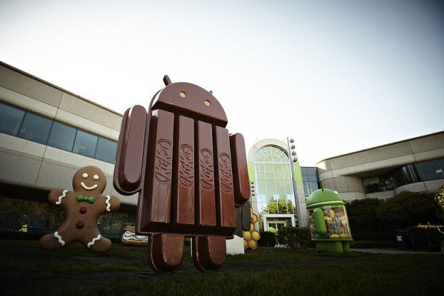 Die Sammlung der verschiedenen Android-Süßigkeiten auf dem Google-Campus