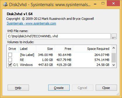 Disk2vhd: Mit Disk2vhd lassen sich Festplatten in VHD-Dateien umwandeln.