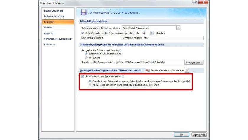 Eingebettete Fonts: Schriftarten in Präsentationen lassen sich in die Datei fest integrieren, sodass das Layout auf anderen PCs nicht beeinflusst wird.
