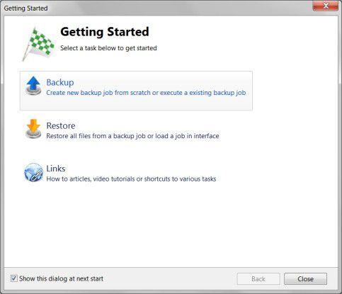 Anwenderfreundlich: Mit Klick auf den entsprechenden Button im Begrüßungs-Dialog startet ein Assistent, der den Nutzer beim Backup und Restore unterstützt.