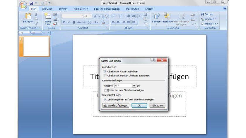 Ausrichtung: In Powerpoint 2007 und 2010 erleichtern manuell hinzugefügte Hilfslinien, Objekte in einer Präsentation genau zu platzieren.