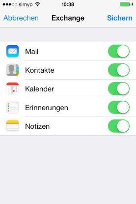Abgleich: Sie müssen die Synchronisierung entsprechend im iPhone/iPad aktivieren.