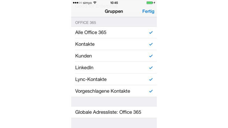 Kontaktaufnahme: iPhones können das globale Adressbuch in Exchange und Office 365 durchsuchen.