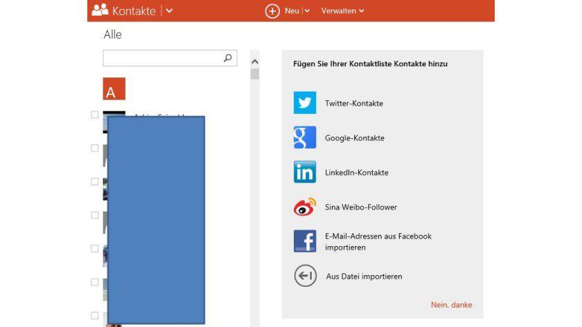 Daten einlesen: In Outlook.com importieren Sie Kontakte aus Dateien oder Outlook.