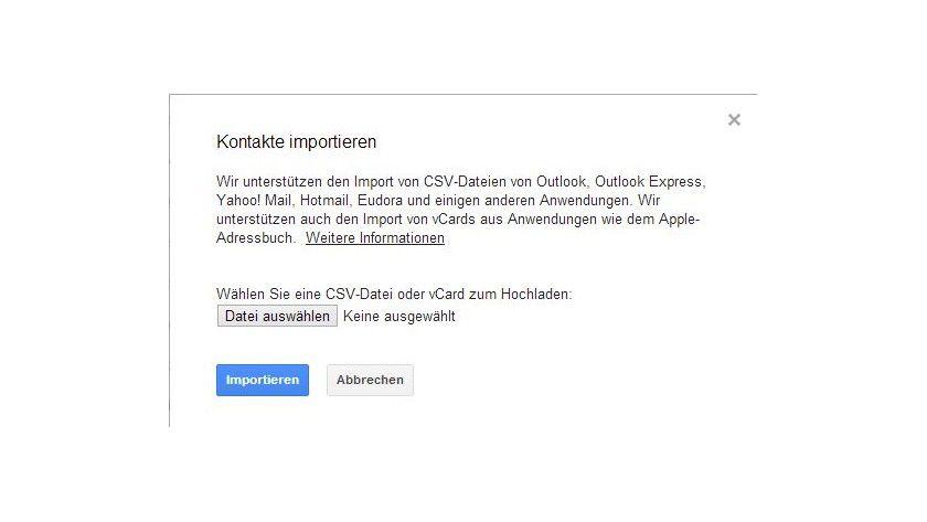 Einlesen: Kontakte lassen sich problemlos in Google Mail importieren.