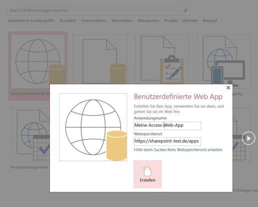 Eigene Web-App: Um eine Access-Datenbank in der Cloud zu erstellen, benötigen Sie einen Sharepoint-Server. Dessen URL geben Sie als Webspeicherort an.