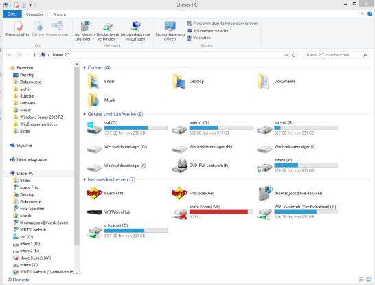 Ansichtssache: Windows 8.1 bietet auch eine neue Ansicht des Explorers. Bibliotheken gibt es in dieser Form nicht mehr.