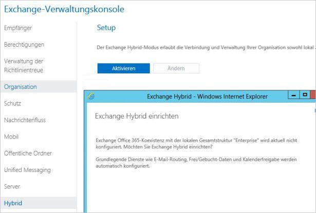 Connect: Office 365 und die Exchange-Organisation verbinden Sie in der Exchange-Verwaltungskonsole. Auf diesem Weg können Sie dann auch Postfächer übertragen.