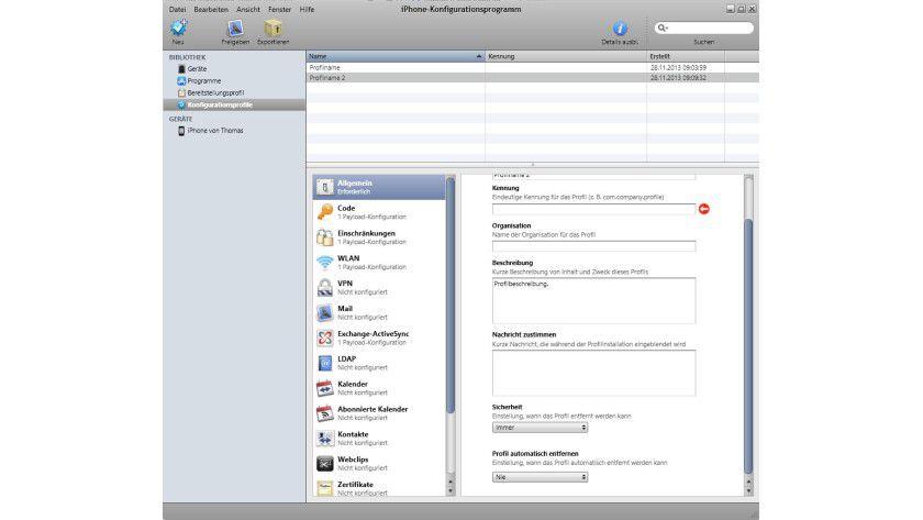 Basisarbeit: ein neues Konfigurationsprofil für das iPhone anlegen