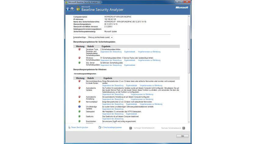 Details: In der Übersicht kann der Anwender erkennen, wo das Tool Sicherheitsschwachstellen des Systems erkannt hat.