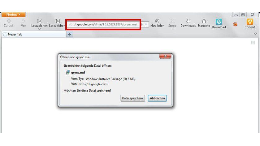 Ohne Umwege: Die Setup-Datei für Google Drive lässt sich auch direkt vom Server herunterladen. Sie ist mit über 30 MByte deutlich größer als der Installer auf Googles Webseite.