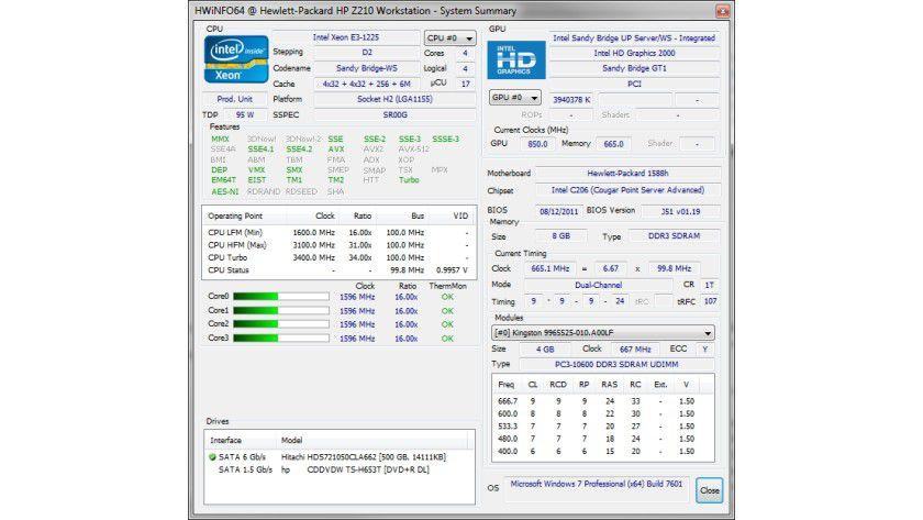 HWiNFO32: Das Tool informiert den Anwender detailliert über seine installierte Hardware und stellt sogar Benchmarks für Prozessor, Speicher und Festplatten zur Verfügung.