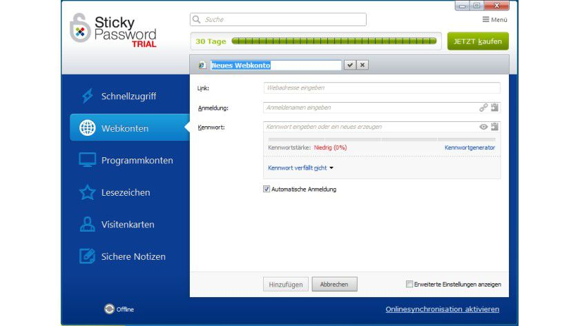 Sticky Password: Der Anwender kann in einer Datenbank seine Passworte komfortabel verwalten.