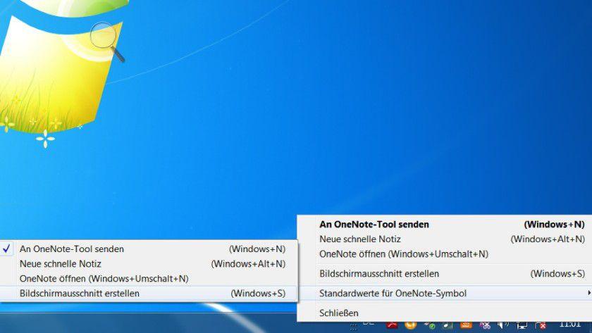 Default ändern: Für das OneNote-Systray-Icon können Sie aus vier Optionen eine neue Standardaktion auswählen.