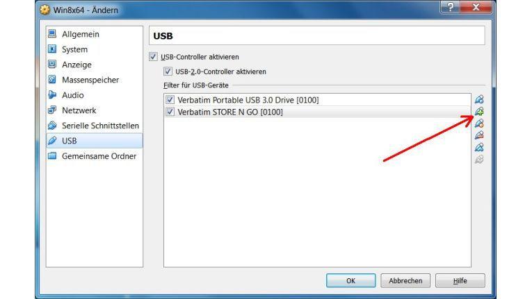 Gefiltert: Neue USB-Filter lassen sich mit dem per Pfeil gekennzeichneten Icon anlegen. Anschließend zeigt eine aktivierte Checkbox, dass das betreffende Gerät in der virtuellen Maschine nutzbar ist.