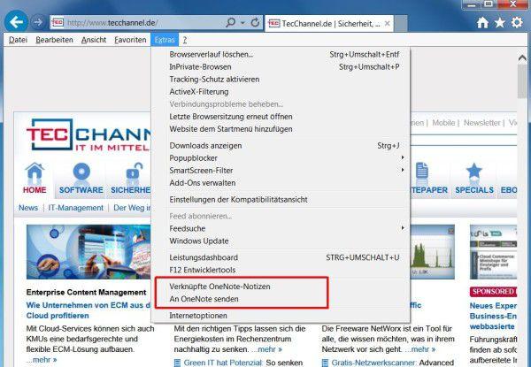 Integrierte Befehle: Ist OneNote auf Ihrem PC installiert, befinden sich im Extras-Menü des Internet Explorers zwei neue Einträge.