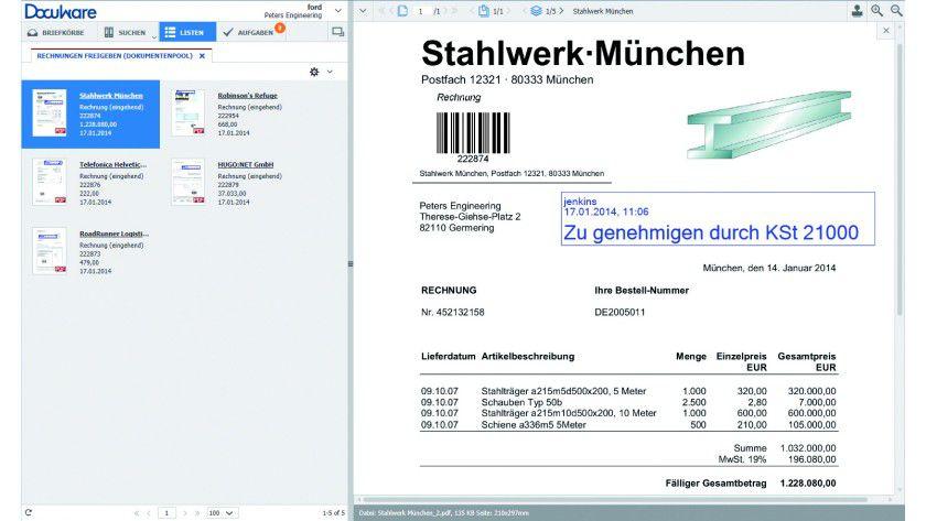 Docuware Web Client 6.5: Anwender sehen Dokumente und damit verknüpfte Aufgaben auf einen Blick. Der Anzeigebereich (rechts) soll das Lesen wichtiger Dokumentinhalte erleichtern.