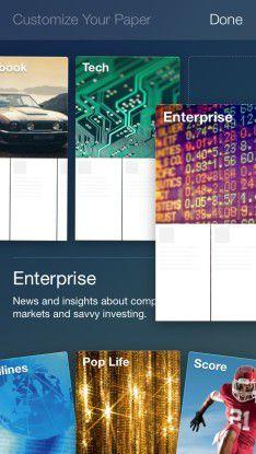 Mehr Inhalte: Neben dem Facebook-Stream zeigt Paper auf Wunsch auch kuratierte Neuigkeiten aus verschiedenen Kategorien an.