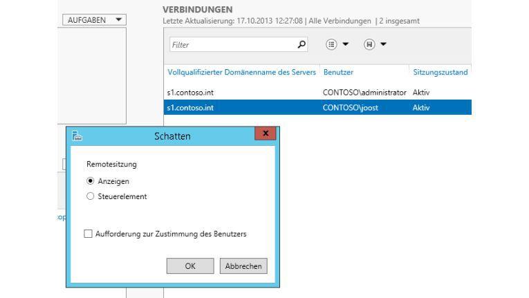 Hilfreich: Über das Kontextmenü von Benutzersitzungen können Sie in Windows-Server-2012-R2-Sitzungen spiegeln. Dazu wählen Sie die Option Schatten aus.