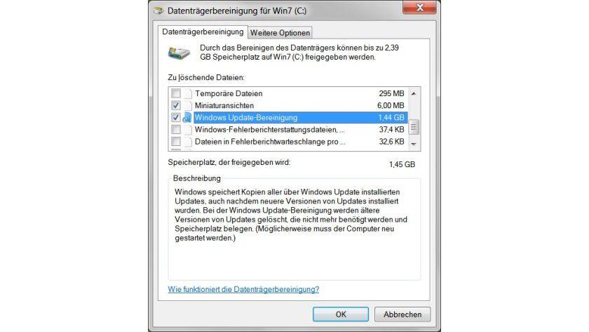 Neue Option: Alte Sicherungsdateien lassen sich nun über die Windows Update-Bereinigung entfernen.