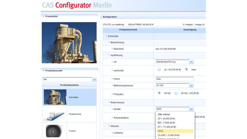 CAS Merlin: Die Software unterstützt bei der Konfiguration von Produktvarianten.
