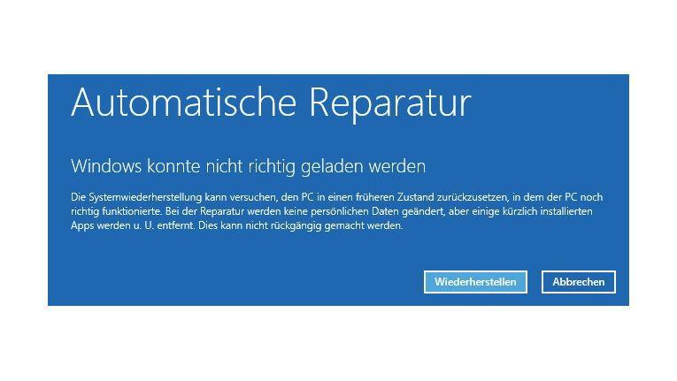 Restaurierung: Windows 8.1 beherrscht auch eine automatische Reparatur, wenn das Betriebssystem nicht mehr startet.