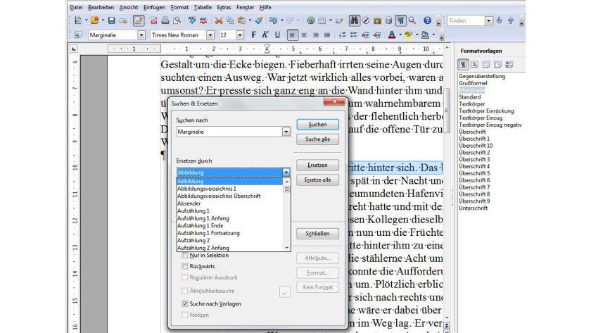 Layout-Wechsel: Über den Suchen-und-Ersetzen-Dialog können Sie auf einfache Weise Formatvorlagen im Dokument austauschen.