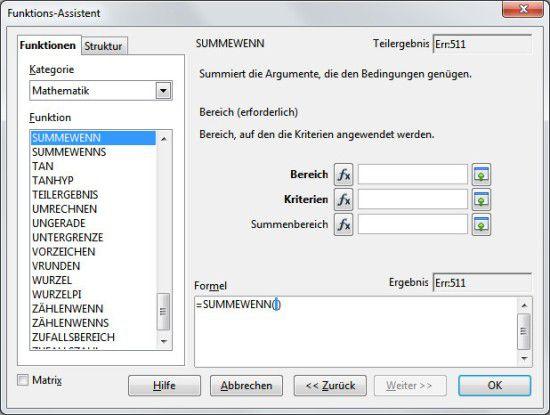 Abhängige Addition: Über die Funktion SUMMEWENN lassen sich nur Werte summieren, die bestimmte Kriterien erfüllen.